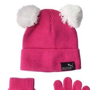 Kids winter beanie hat glove Puma pink Pom Pom